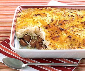 If you like sauerkraut with your hot dogs, try this potato-topped casserole recipe. Prepared mashed potatoes save on the prep time.: