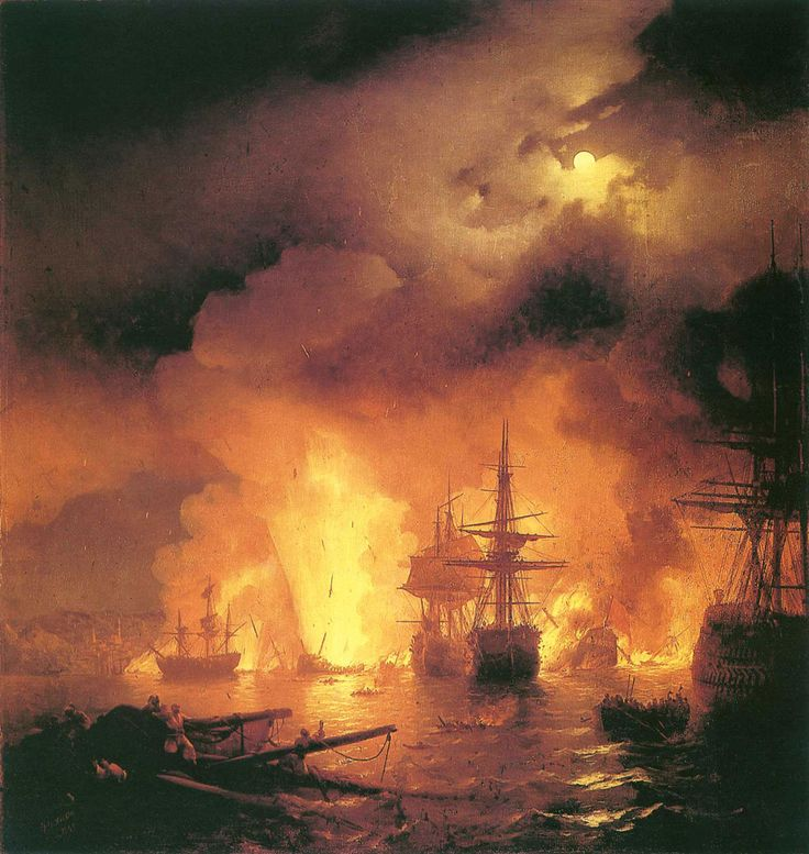 Ivan Konstantinovich Aivazovsky.  Title: The Battle of Chesme, Original Size: 220 x 188 cm, Date: 1848, Location: Feodosia, Aivazovsky Art G. - Buy this painting as premium quality canvas art print from Modarty Art Gallery. #art, #canvas, #design, #painting, #print, #poster, #decoration