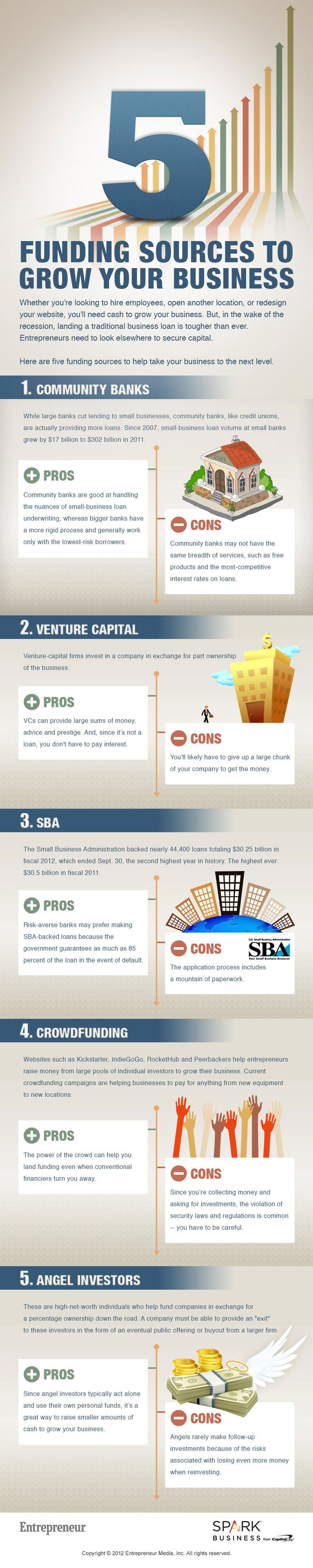 5 Funding Sources to Grow Your Business #Infographic via @Entrepreneur Magazine