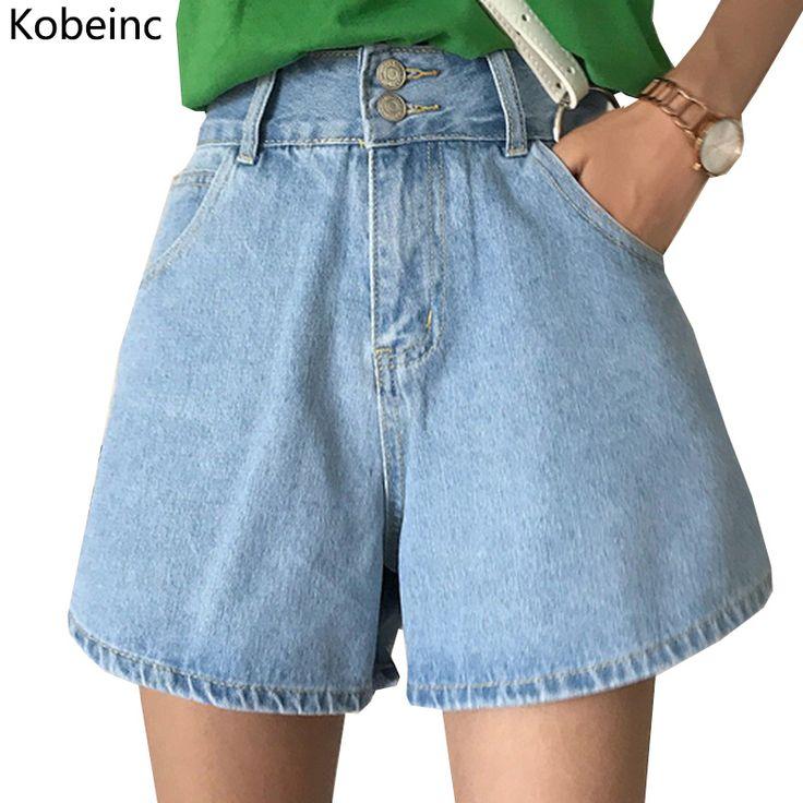 Kobeinc Wide-Leg Jeans Shorts Women Two Buttons High Waist Denim Short Pants Female Summer Loose Pantalones Cortos Casual Shorts #Affiliate