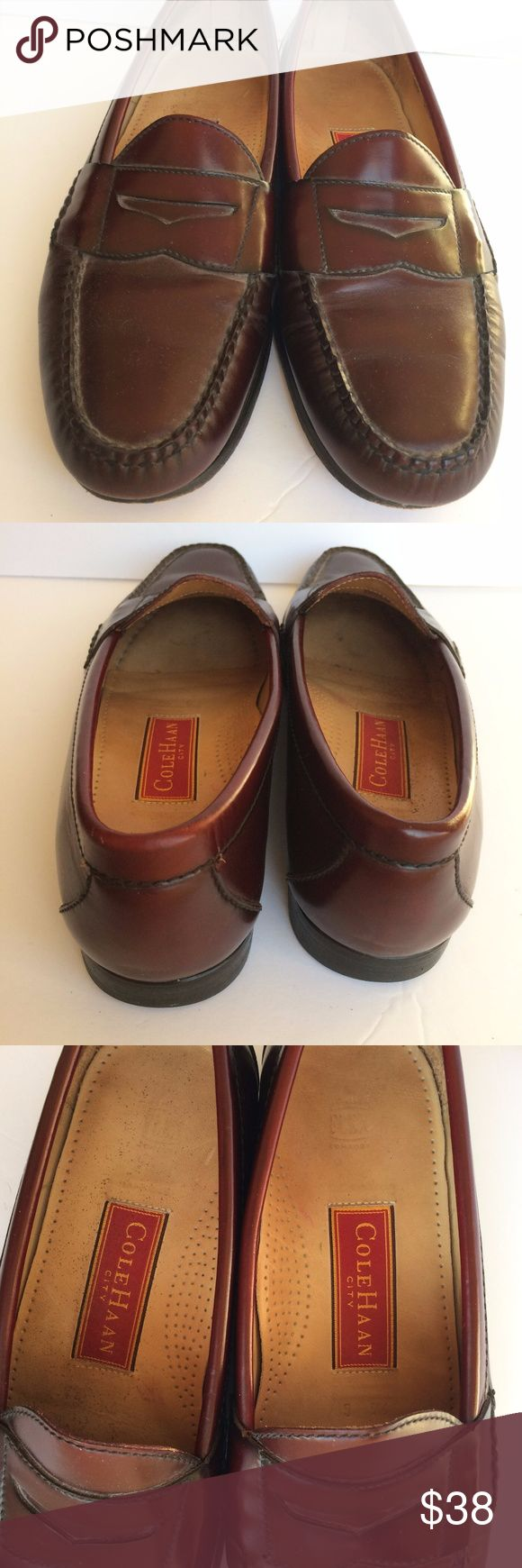 Cole Haan City Men's Leather Penny Loafers Brown Pre-owned in excellent condition. No rips, holes, stains, or other defects.  Size 9.5 penny loafers. Genuine leather, minor wear on sole. Cole Haan Shoes Loafers & Slip-Ons
