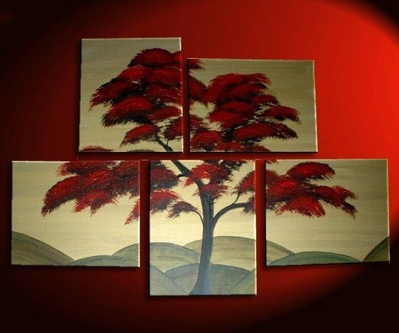 Large Tree Painting Red Gold Huge Art Custom Modern Abstract Original Peaceful 56x40 Hills Asian Chinese Japanese