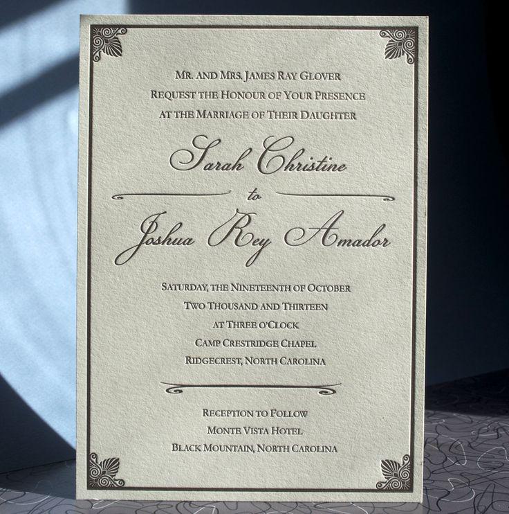 Traditional ecru letterpress invitation caligraphy lettra 75