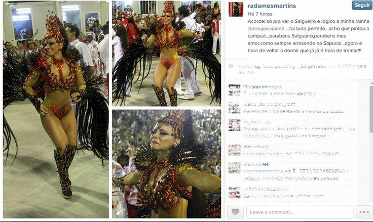 """Sem folga no Pará, Radamés torce por noiva Viviane Araújo: """"Minha rainha"""" #globoesporte"""