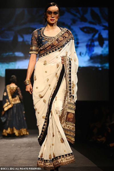 Ritu Kumar sari...cream with blue