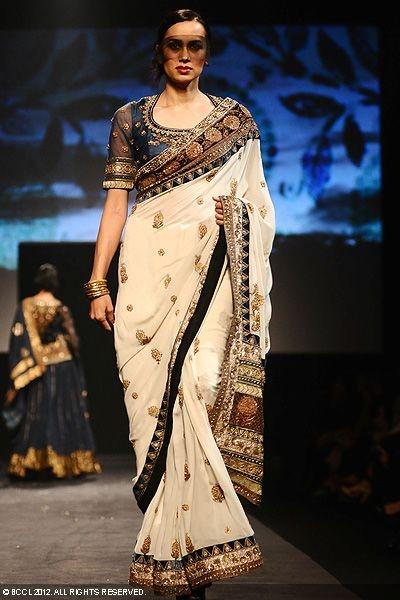 Ritu Kumar sari...cream with blue