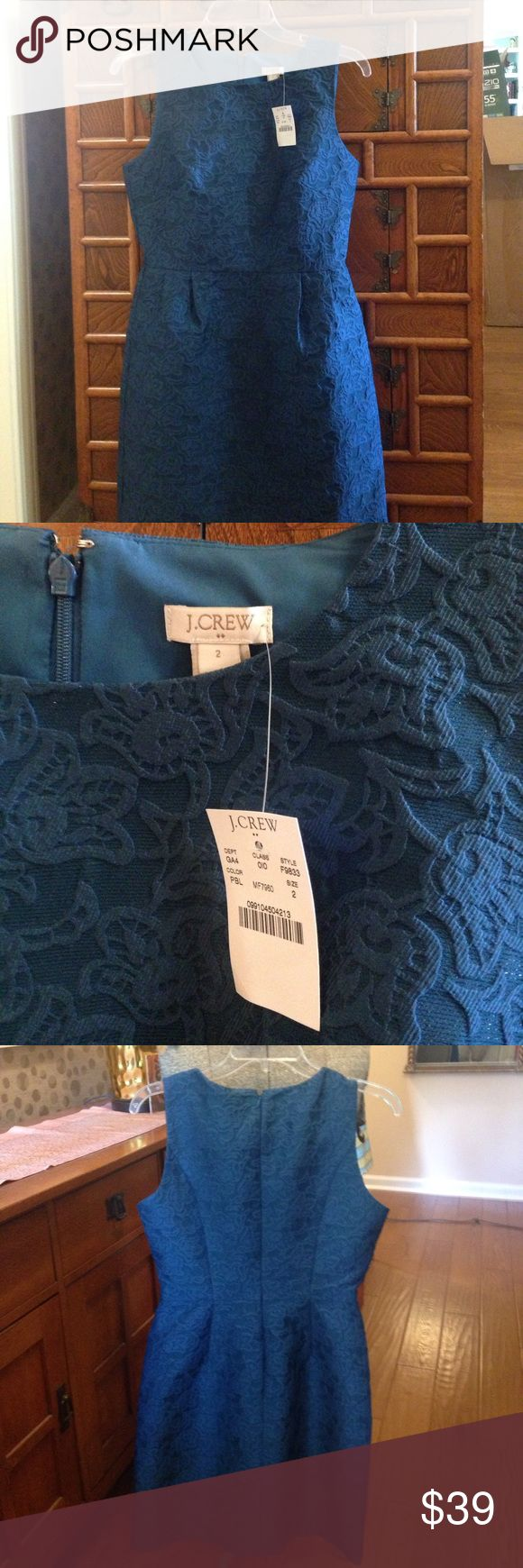 JCrew, never worn, size 2 ladies sleeveless dress. Turquoise blue beautiful, never worn, sleeveless dress. Size 2.  Stops at knee. New with tags.  Would work perfect alone or with a shirt under it. Beautiful jacquard fabric. Gentle wash no drying or dry clean. Must see to believe the beauty of this dress. J Crew Dresses Midi