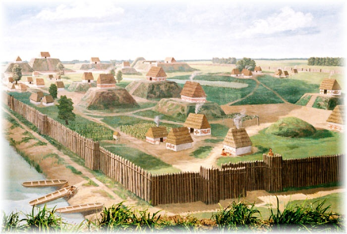 A Missisippian culture town in modern Kincaid, IL. Circa 1200 AD. While Cahokia was certainly the grandest of the Mississippian cities and towns, even the lesser settlements were impressive in their own right with earthworks supporting temples and wealthy residents' houses and palisade walls. According to conquistador De Soto, at each town, one could always see at least two or three more in the distance, so dense was the population.