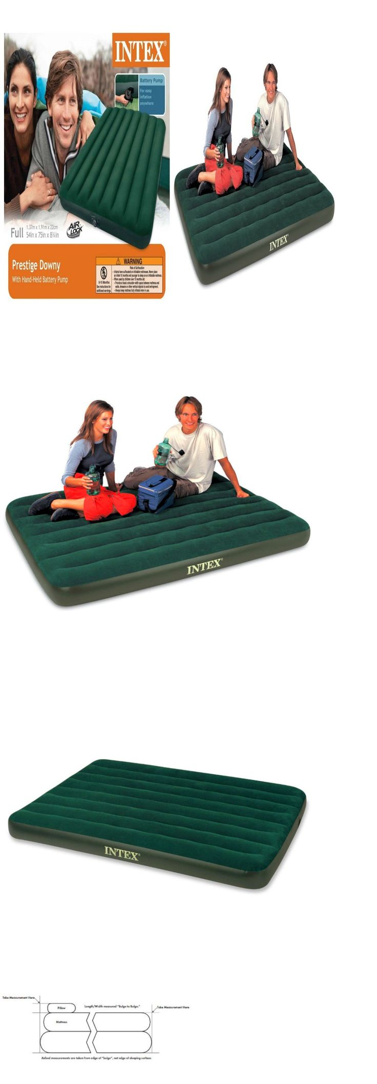 Inflatable Mattresses Airbeds 131598: Intex Inflatable Mattress With Air  Pump Full Size Camping Pool Car