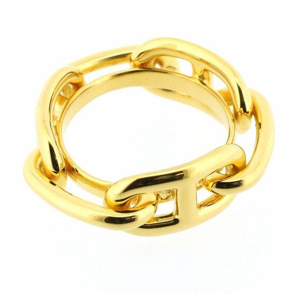 """【中古】Hermes(エルメス) ルガテ ゴールド GP スカーフリング/エルメスを代表するモチーフ""""シェーヌダンクル""""をつなぎ合わせたデザイン。 一つお持ち頂くとスカーフアレンジの幅が広がりオシャレもより一層楽しめます。/新品同様・極美品・美品の中古ブランドバッグを格安で提供いたします。/¥12,600"""