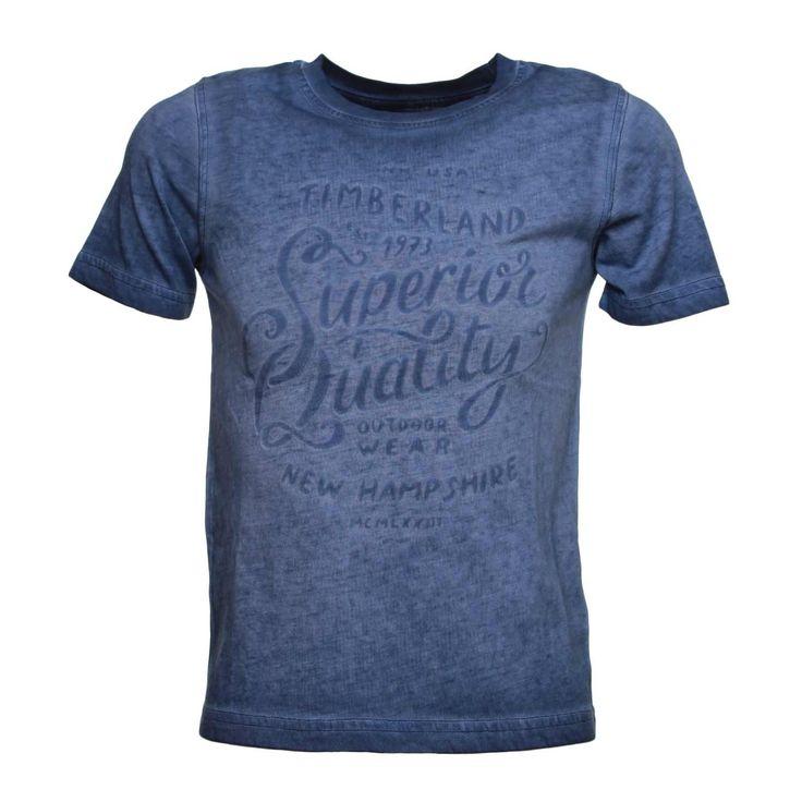 Timberland - T-Shirt Junior Blu Delavè - Maglietta blu delavè con stampa tono su tono firmata Timberland della nuovissima Collezione Primavera Estate 17 - Linea di abbigliamento Bambino e Teenager. #teenager #annameglio