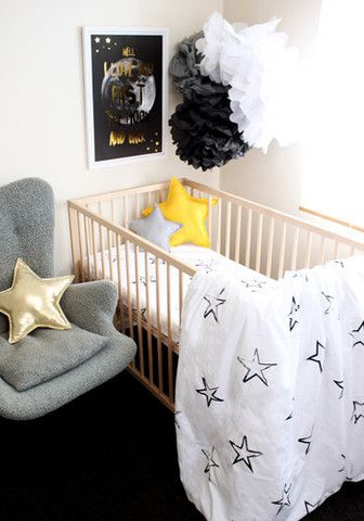 Painted stars - Duvet Cover and pillowcase Cot, single, King Single – Burrow & Be