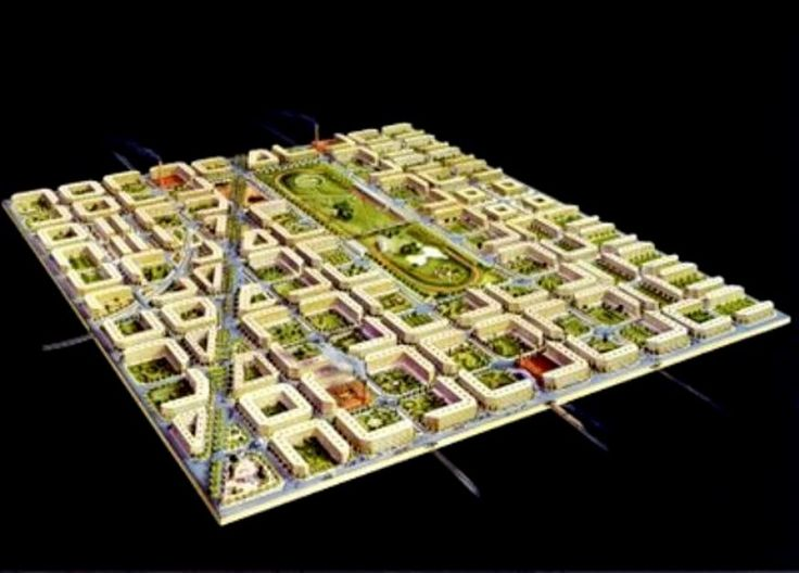 Ensanche de Barcelona (distrito que ocupa o centro da cidade): Na Rev. Industrial, e aumento demográfico, a cidade perde as muralhas (1854-56). Ildefonso Cerdá, um dos pais do urbanismo moderno, sugere uma cidade jardim, mas não agrada à burguesia: ausência de classes / quadras de 113,3 m: edifícios só em 2 faces, 16m de altura (3 and.) e máximo 14 m de profundidade, ventilação dos 2 lados / ruas de 20 m. O governo central de Madrid impõe o projeto, mas sofrerá ajustes. Modelo da ideia…