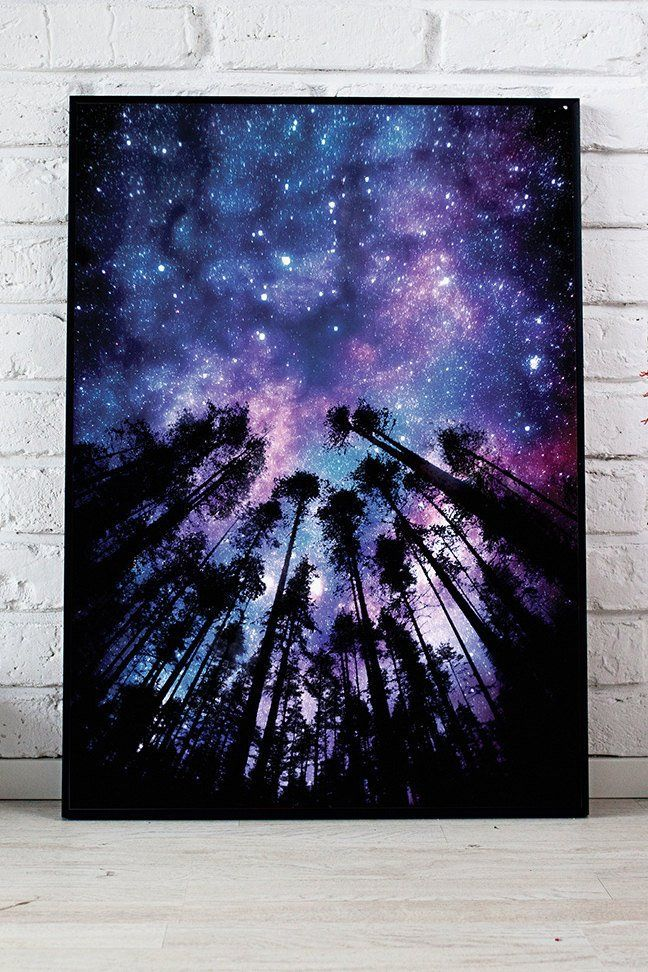 Starry Sky Space Room Decor Night Sky Poster Large Wall Etsy Diy Canvas Art Painting Amazing Art Painting Diy Art Painting