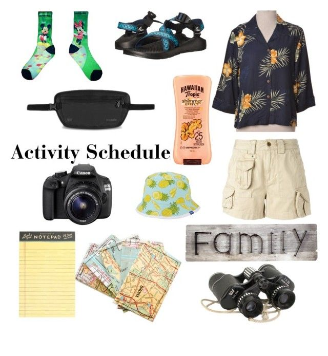 """Homecoming Spirit Week: Tacky Tourist Day"" by paulinaanna ❤ liked on Polyvore featuring Chaco, Polo Ralph Lauren, Pacsafe, J.Crew, Pier 1 Imports, Hawaiian Tropic, Keds and Eos"