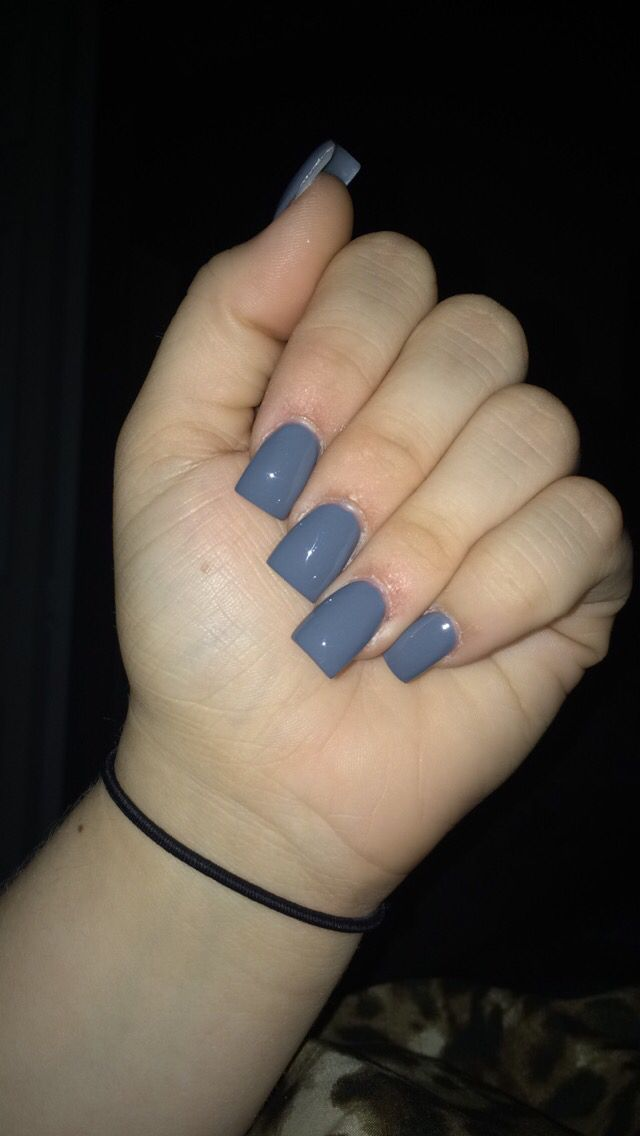 Gorgeous long gray acrylic nails, square shape