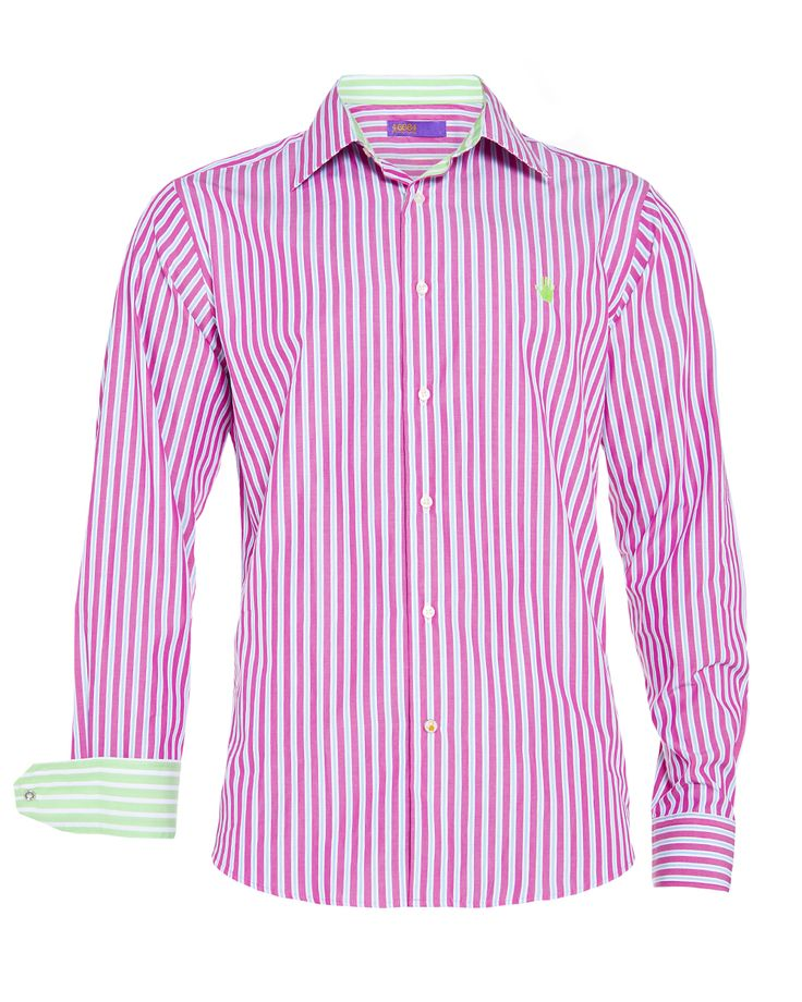 Men's pink stripe shirt, available at www.46664fashion.com