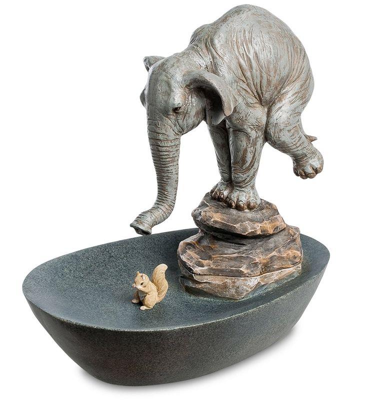 Декоративный фонтан «Друзья» ED-346      Страна производства: Китай;   Материал: полистоун;   Длина: 38 см;   Ширина: 25,5 см;   Высота: 38,5 см;   Вес: 3,1 кг;          #figurines #polyston #polyresin #статуэтки #фигурки #полистоун #слон