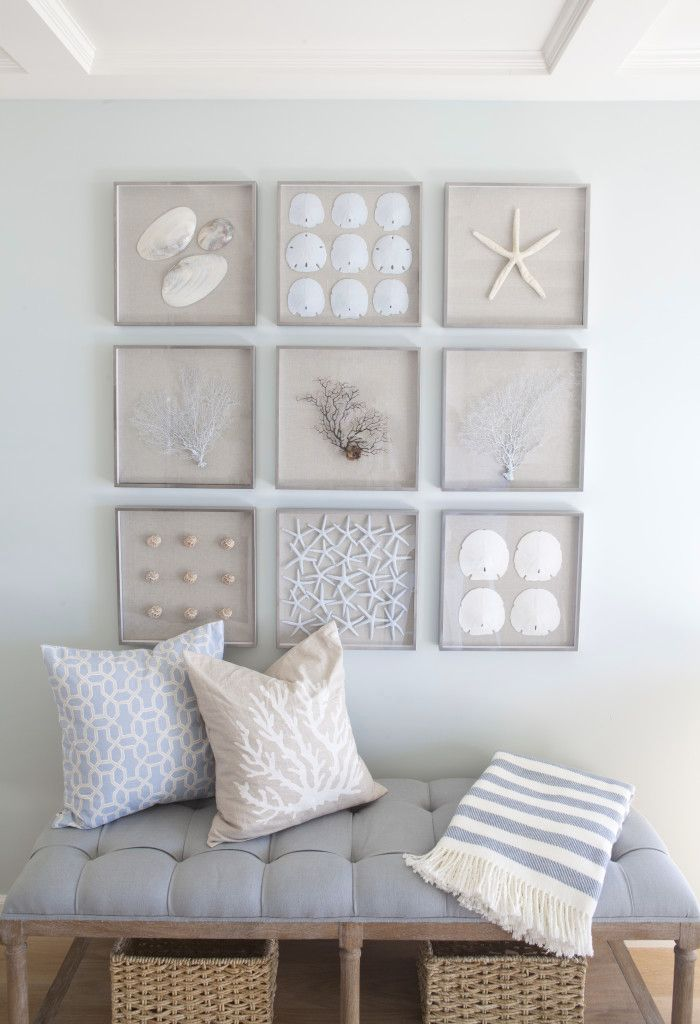 modern coastal decor featuring a neutral beige white and pale blue color scheme and collages of framed shells and coral wall art contemporary beach