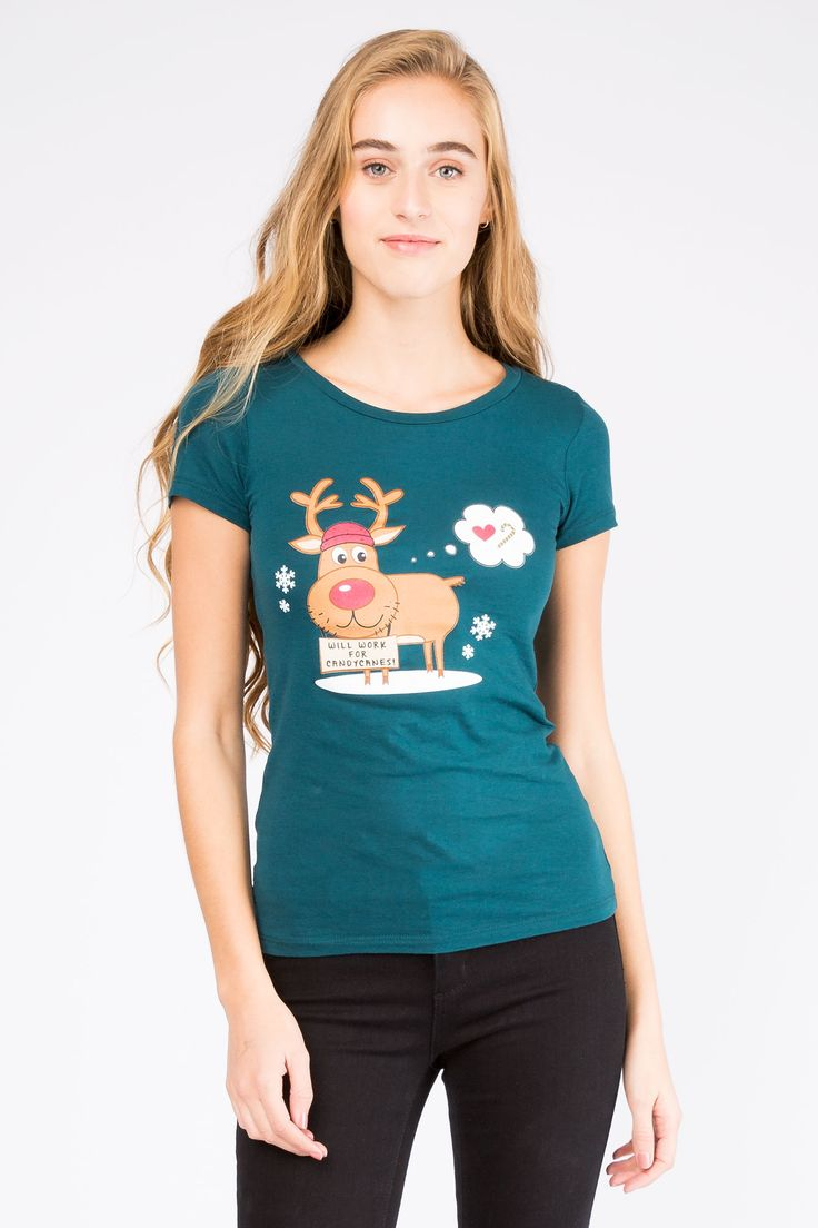 "Girls Reindeer ""Will Work for Candy Canes"" Basic Crew"
