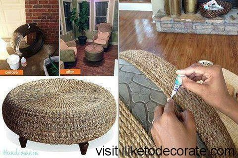 How to make a nice room table from a old tires. - http://gooddiyidea.com/make-nice-room-table-old-tires/