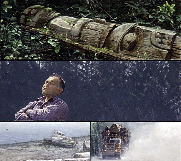 Robert Bateman - Paintings  Logging on vancouver Island