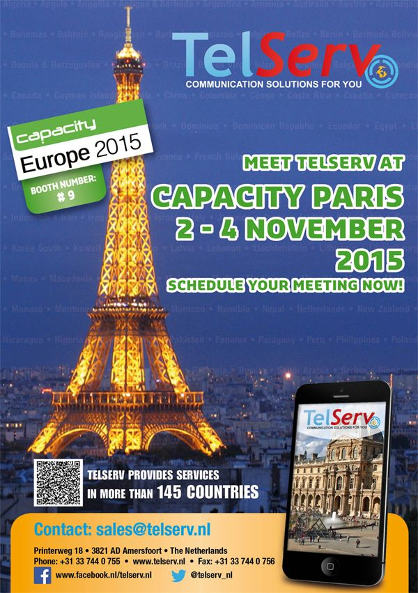 Join us at the largest #telecom #event in #Europe! #Paris #Capacity_Europe #TelServ