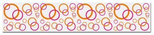 Hot Pink and Orange Bubble Circle Wallpaper Wall Border Decals for teen girls room or kids playroom decor. #decampstudios
