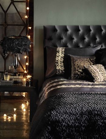 This black padded headboard looks dramatic when teamed with black sheets and a luxurious, textured throw. Add some light with gold accents. ...