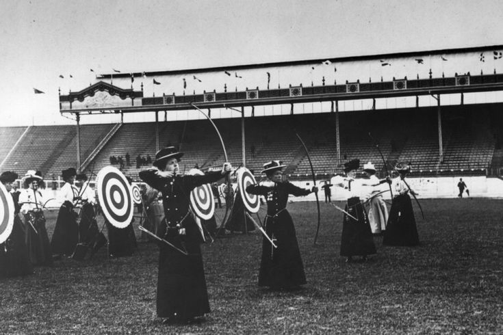 Women's archery event at the 1908 Olympics in London.  Long before Katniss Everdeen.