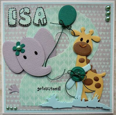 Birthday card for a little one: COL1384 Elephant, COL1386 Giraffe, Alphabet stampset CS0921 by Hanny