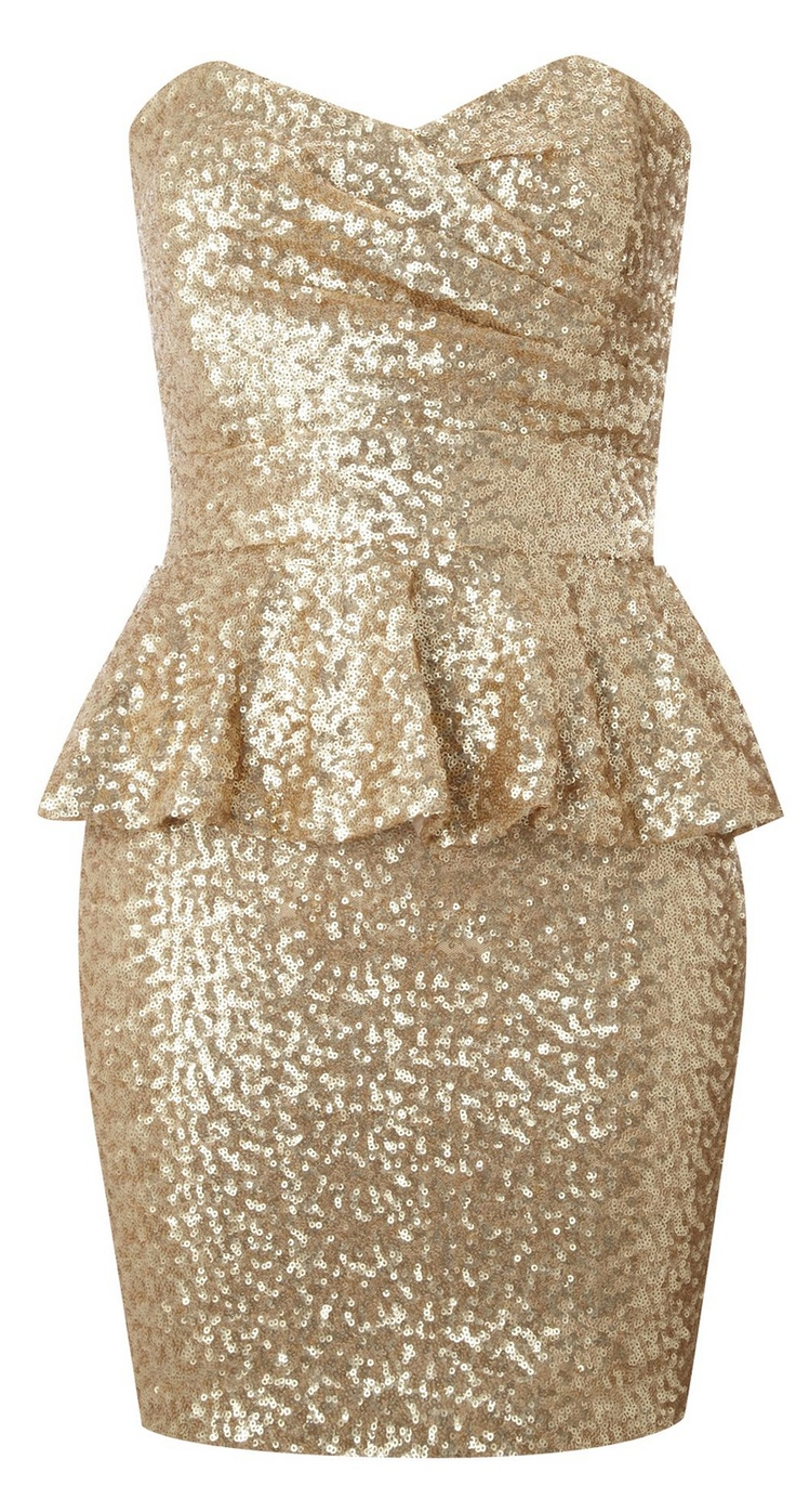 TFNC  Strapless Sequin Dress with PeplumHoliday Dresses, Bachelorette Parties, Bridesmaid Dresses, Dresses Ideas, Gold Sequins, Sequins Dresses, Strapless Sequins, New Years Eve, Peplum Dresses