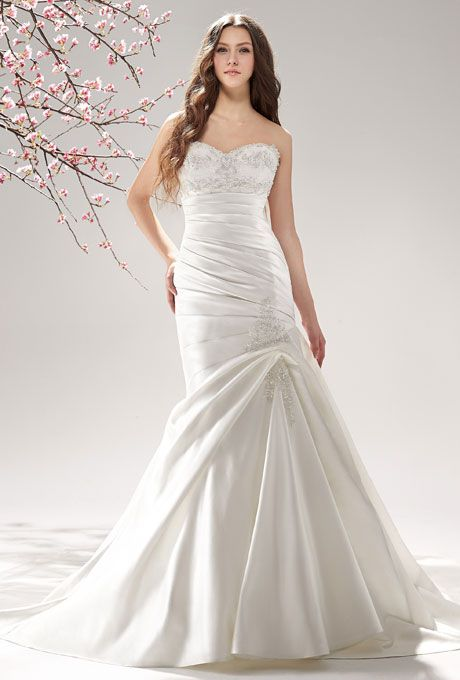 Brides.com: Wedding Dresses We Love For Under $1,000. This dress is a triple threat: Figure-flattering ruching, sweetheart neckline, and a blinged-out bodice.  Style F151065, l'eclat satin wedding dress, $950, Jasmine Bridal  See more Jasmine Bridal wedding dresses.