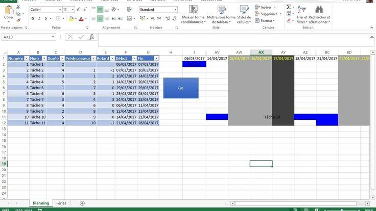 Diagramme de Gantt avec Excel évolution 1  Prise en compte des jours ouvrés et des jours fériés