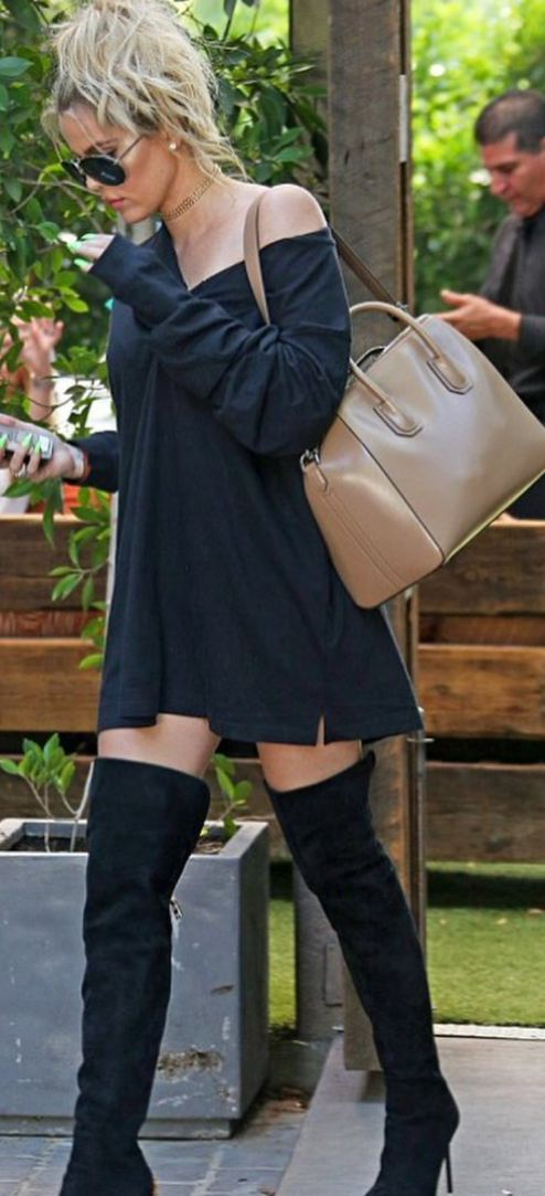 Khloe Kardashian: Necklace – Lili Claspe  Shoes – Gianvito Rossi  Purse – Givenchy  Sunglasses – Porsche Design