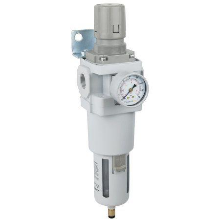 PneumaticPlus SAW600-N06BDG Compressed Air Filter Regulator Piggyback Combo 3/4 inch NPT - Poly Bowl, Auto Drain, Bracket, Gauge