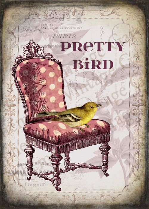 Pretty Bird On Polka Dot Chair 5 x 7 Digital by EphemerasGarden, $4.00