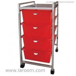 Laroom - Carrito ancho 4 cajones rojos - Laroom diseña las cajoneras con ruedas más bonitas y elegantes del mundo - www.laroom.com
