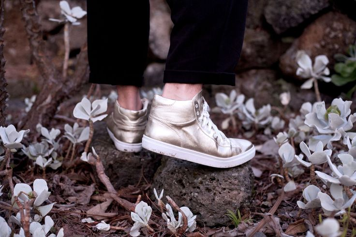 Our Cruz High Tops in Gold Metallic Leather by French photographer Sonia Briki. // ELECT Footwear - Our Shoes // #electfootwear #sneakers #gold #metallicleather #sneakerhead #style #streetwear