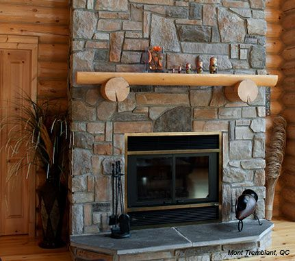 38 best images about stone fireplaces on pinterest for Country stone fireplace