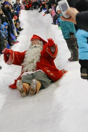 Rovaniemi, Finland: Arctic Circle, Santa Claus Village. Santa taking a test run on the ice...