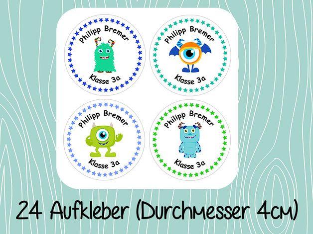 Aufkleber & Etiketten - Aufkleber Namenssticker Schule Set 12 - ein Designerstück von Silberfaedchen bei DaWanda