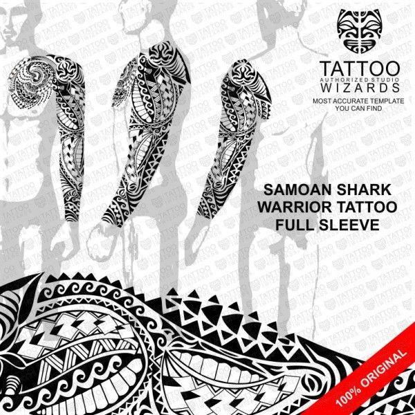 Samoan Warrior Shark Vector Tattoo Template Stencil - Tattoo Wizards