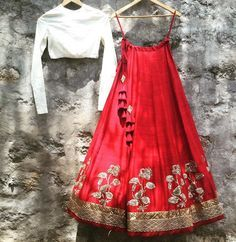 Jayanti reddy # red lehenga # white blouse cum top # Indian fusion fashion