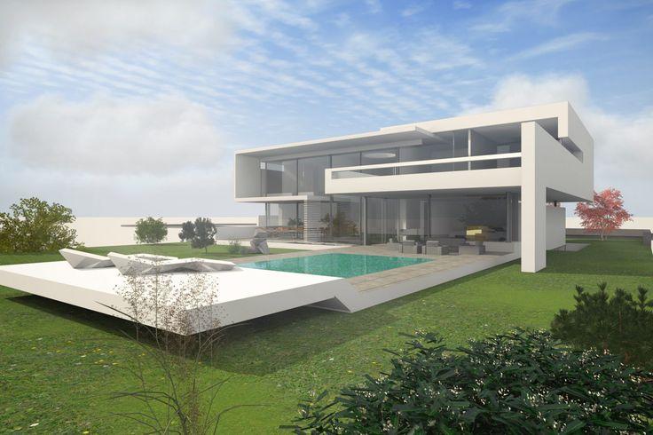 Moderne Villa mit Pool im Bauhaus Design mit Flachdach auf 2 Geschossen.