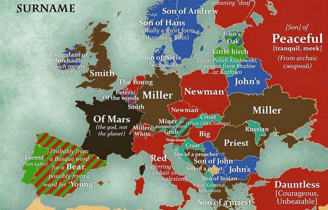 Une carte des noms de famille les plus répandus en Europe et de leur signification