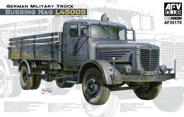 Bussing NAG L4500S, German Military Truck. AFV Club, 1/35, initial release 2012, No.AF35170. Price: 39,95 EUR )marketplace).