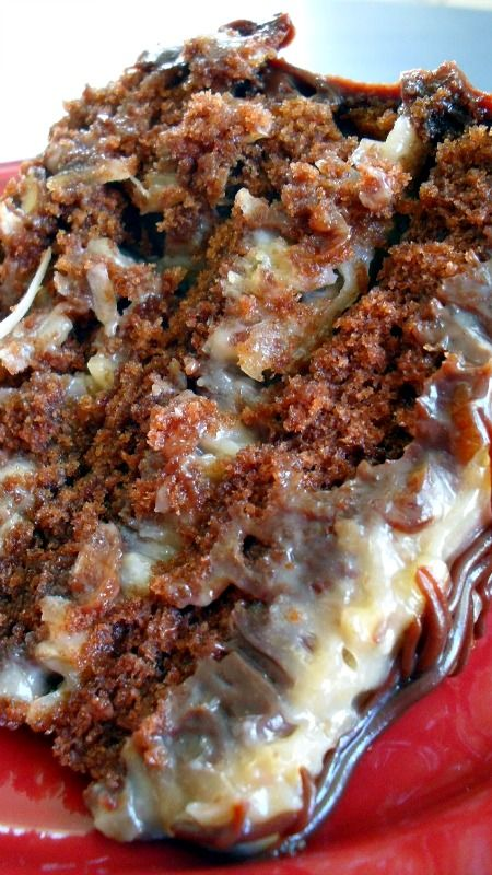 German Chocolate Cake Rich, moist chocolate cake with smooth and creamy pecan and coconut frosting.