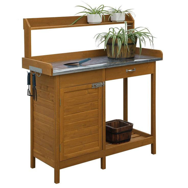 outdoor home garden potting bench with metal table top and storage cabinet loluxe