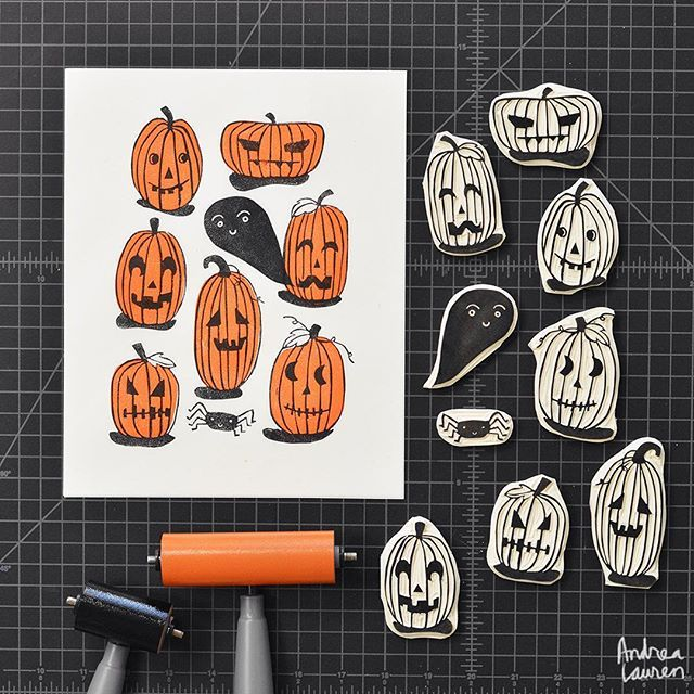 carving and printing these pumpkins in two colors